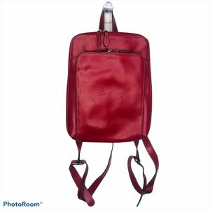 Lodis Red Leather Audrey Rider Backpack Thin Bag